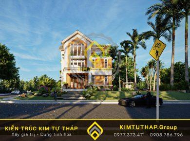 mẫu nhà phố 3 tầng mái thái bắt mắt