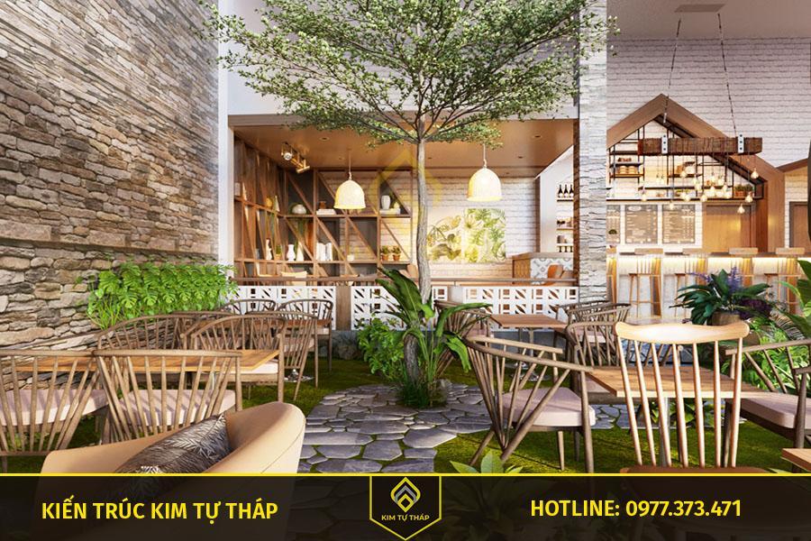 thiết kế cafe sân vườn ấn tượng