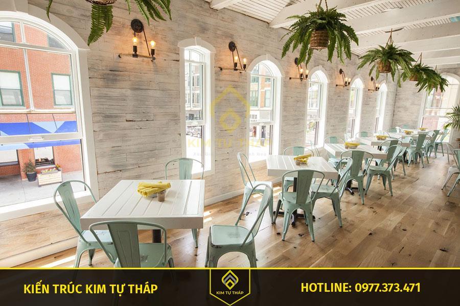 thiết kế quán cafe phong cách coastal